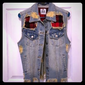 UNIF Distressed Denim Vest with red plaid!